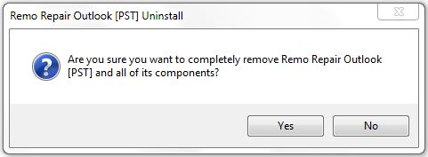 Remo Repair Outlook (PST) Uninstallation Screen - 2
